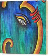 Sanskrit Om Ganesha Wood Print