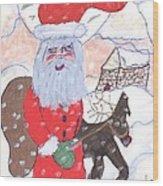 Santa And His Reindeer Wood Print
