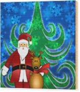 Santa And Reindeer In Winter Snow Scene Wood Print