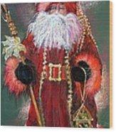 Santa As Father Christmas Wood Print by Shelley Schoenherr