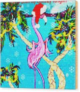 Santa Baby Flamingo Wood Print