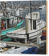 Santa Barbara Fishing Boats Wood Print