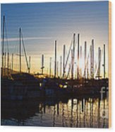 Santa Barbara Harbor With Yachts Boats At Sunrise In Silhouette Wood Print by ELITE IMAGE photography By Chad McDermott