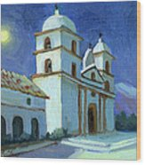 Santa Barbara Mission Moonlight Wood Print