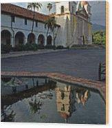 Santa Barbara Mission Reflections Wood Print
