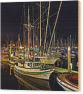 Santa Barbata Harbor Color Wood Print