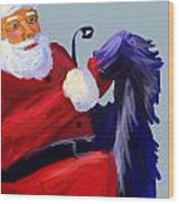 Santa Blue Wood Print