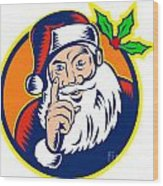 Santa Claus Father Christmas Retro Wood Print