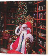 Santa Claus Greeting Wood Print by Scott Allison