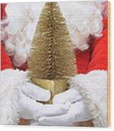 Santa Claus Holding Christmas Tree Wood Print