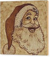 Santa Claus Joyful Face Wood Print