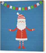 Santa Claus On A Blue Background Wood Print