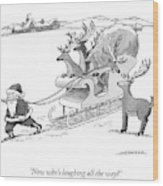 Santa Claus Pulls A Sleigh Full Of Reindeer Wood Print