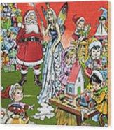 Santa Claus Toy Factory Wood Print by Jesus Blasco