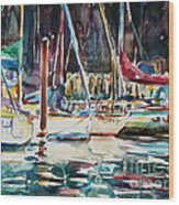 Santa Cruz Dock Wood Print
