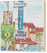 Santa Cruz Inn Motel In Riverside - California Wood Print by Carlos G Groppa