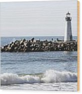 Santa Cruz Lighthouse Wave Wide Wood Print by Barbara Snyder