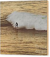 Santa Cruz Surfing At The Golden Hour Wood Print by Artist and Photographer Laura Wrede