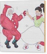 Santa Dances Wood Print