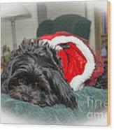Santa Dog Wood Print by Joe McCormack Jr