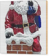 Santa Down The Chimney Wood Print