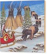 Santa For Indians Wood Print by Billie Bowles
