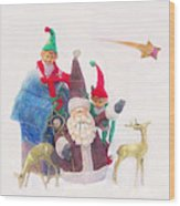Santa Gets Ready Wood Print