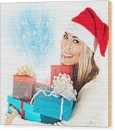 Santa Girl With Gifts Wood Print