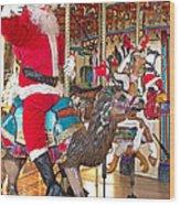 Santa Go Round Wood Print