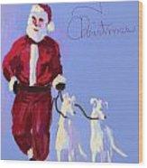 Santa Grey Wood Print