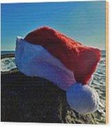 Santa Hat And Ocean 10 12/19 Wood Print