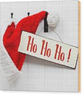 Santa Hat And Sign Wood Print
