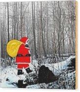 Santa In Christmas Woodlands Wood Print