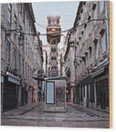 Santa Justa Lift In Lisbon Wood Print