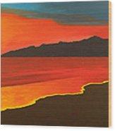 Santa Monica Beach And Mountains Wood Print