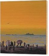 Santa Monica Beach Sunset Wood Print