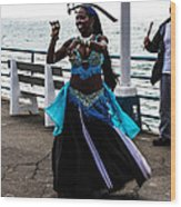 Santa Monica Belly Dancer Wood Print