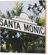 Santa Monica Blvd Street Sign In Beverly Hills Wood Print by Paul Velgos