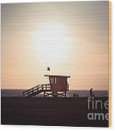 Santa Monica Lifeguard Stand Sunset Photo Wood Print