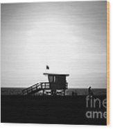 Santa Monica Lifeguard Tower In Black And White Wood Print by Paul Velgos