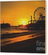 Santa Monica Pier California Sunset Photo Wood Print by Paul Velgos