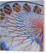 Santa Monica Pier Ferris Wheel At Dusk Wood Print