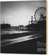Santa Monica Pier In Black And White Wood Print by Paul Velgos