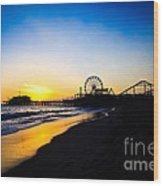 Santa Monica Pier Pacific Ocean Sunset Wood Print by Paul Velgos