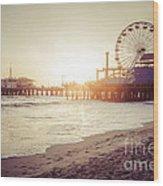 Santa Monica Pier Retro Sunset Picture Wood Print