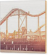 Santa Monica Pier Roller Coaster Panorama Photo Wood Print