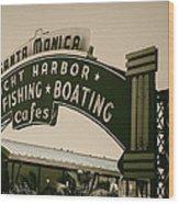 Santa Monica Pier Sign Wood Print