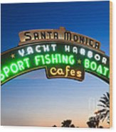 Santa Monica Pier Sign Wood Print by Paul Velgos