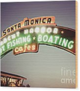 Santa Monica Pier Sign Retro Photo Wood Print