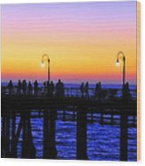 Santa Monica Pier Sunset Silhouettes Wood Print